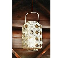 Old-fashioned lacy white lantern. Textured background. Photographic Print
