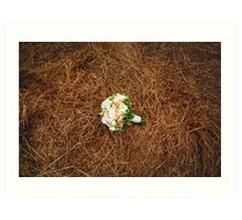 Wedding flowers on the hay field. Rustic style. Art Print
