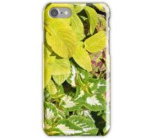 Pattern with colorful yellow green leaves. iPhone Case/Skin