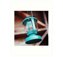 Old-fashioned blue lantern. Wooden background. Art Print