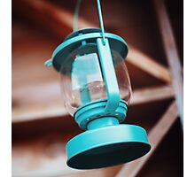Old-fashioned blue lantern. Wooden background. Photographic Print