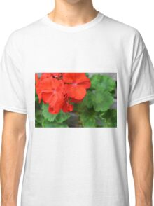 Red vivid flowers and green leaves Classic T-Shirt
