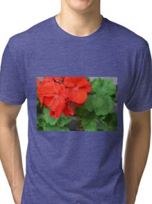 Red vivid flowers and green leaves Tri-blend T-Shirt