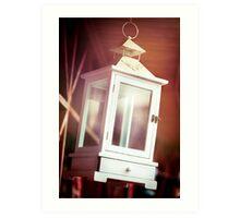 Old-fashioned classic white lantern. Art Print