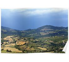 Hills from Assisi and cloudy sky Poster