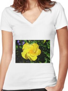 Yellow delicate flower on green leaves background Women's Fitted V-Neck T-Shirt