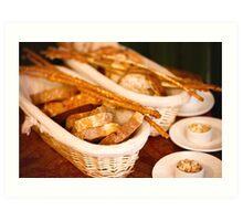 Slices of fresh-baked and breadsticks Art Print