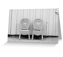 Blue and Yellow Chairs in Black and White Greeting Card