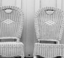 Blue and Yellow Chairs in Black and White Sticker