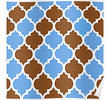 MOROCCAN BROWN AND BLUE PATTERN Poster