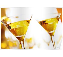 Celebration. Two champagne glasses. Poster