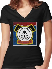 Fisher Price Dog Pop Art Women's Fitted V-Neck T-Shirt