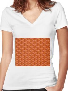 Goyard case orange Women's Fitted V-Neck T-Shirt