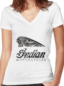 Indian Motorcycles Distressed Logo Women's Fitted V-Neck T-Shirt