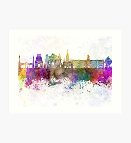 Chennai skyline in watercolor background Art Print