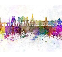 Chennai skyline in watercolor background Photographic Print
