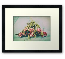 Flowers Bouquet Of Spring Wet Tulips On Table Framed Print