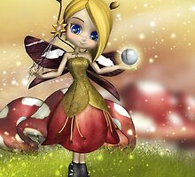 Cute Magical Fairy With Crystal Ball And Wand  by Moonlake