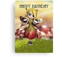 Cute Magical Fairy With Crystal Ball And Wand  Canvas Print