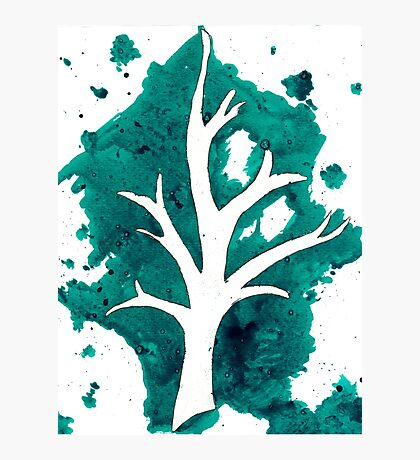 Green Tree Ink Drawing Photographic Print