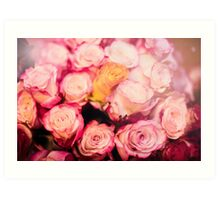 Beautiful bouquet of pink roses Art Print
