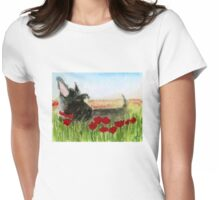 Scottie Dog 'Poppies' Womens Fitted T-Shirt