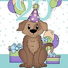 20th Birthday Card With Dog And Gifts by Moonlake