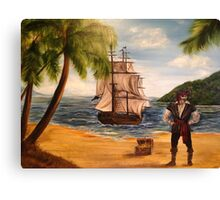 Pirate and Pirate Ship Canvas Print