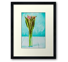 Wet Pink Tulip Flowers In Vase Framed Print
