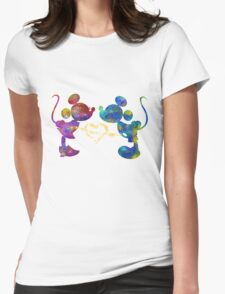 mickey and minnie watercolor  Womens Fitted T-Shirt