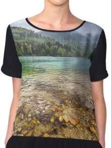 Lake in mountains, in a rainy day Chiffon Top