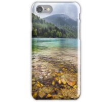 Lake in mountains, in a rainy day iPhone Case/Skin