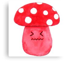 cute annoyed red mushroom watercolor painting  Canvas Print