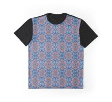 """""""Flowers and laurels"""", blue, gray and copper red, bohemian pattern  Graphic T-Shirt"""