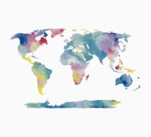 The Places We'll Go - Watercolor World Map Kids Tee