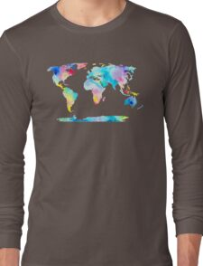 The Places We'll Go - Watercolor World Map Long Sleeve T-Shirt