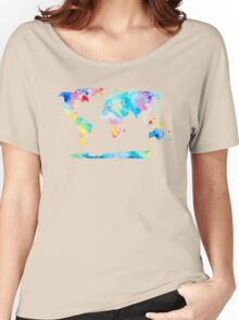 The Places We'll Go - Watercolor World Map Women's Relaxed Fit T-Shirt