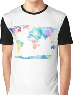 The Places We'll Go - Watercolor World Map Graphic T-Shirt