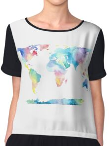 The Places We'll Go - Watercolor World Map Chiffon Top