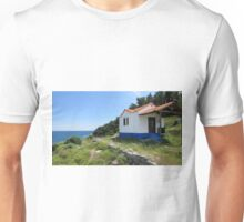 A CLIFF TOP CHURCH FOR RELIGIOUS MOUNTAINEERS ONLY. Unisex T-Shirt
