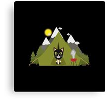 Cat In the camping tent   Canvas Print