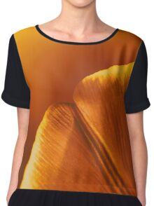 Red And Orange Tulip Flower Petals Chiffon Top
