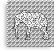 Floral Embossed Effect Elephant pattern Canvas Print