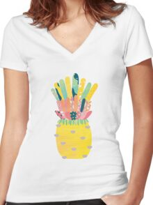 Pineapple Party Women's Fitted V-Neck T-Shirt