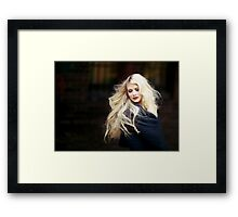 beautiful blonde straight hair woman Framed Print
