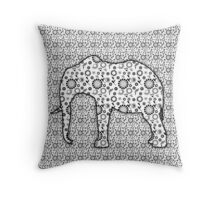 Floral Embossed Effect Elephant pattern Throw Pillow