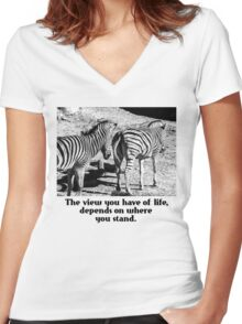 Zebra In A Bad Location Women's Fitted V-Neck T-Shirt