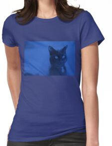 Spooky Cat - Blue Womens Fitted T-Shirt
