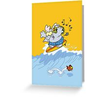 Elephant surfing Greeting Card