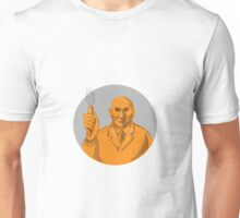 Crazy Scientist Holding Test Tube Circle Drawing Unisex T-Shirt